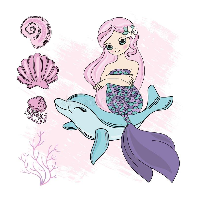 Free MERMAID DOLPHIN Cartoon Travel Tropical Vector Illustration Set Stock Image - 148310791