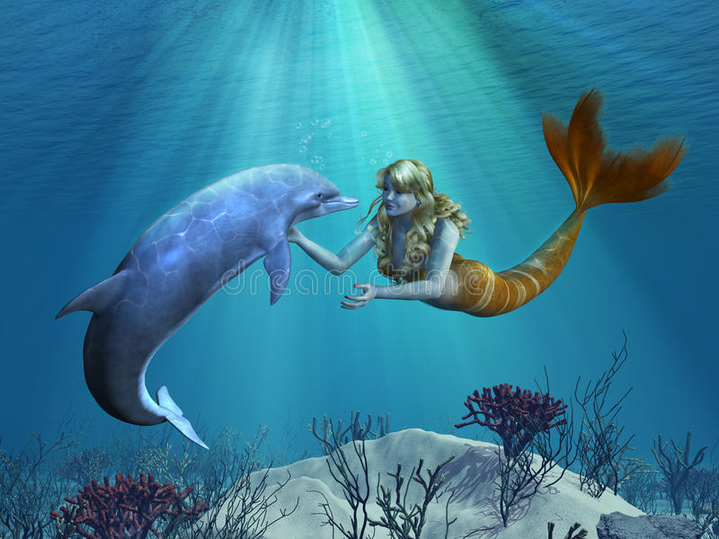 Mermaid with Dolphin Undersea vector illustration