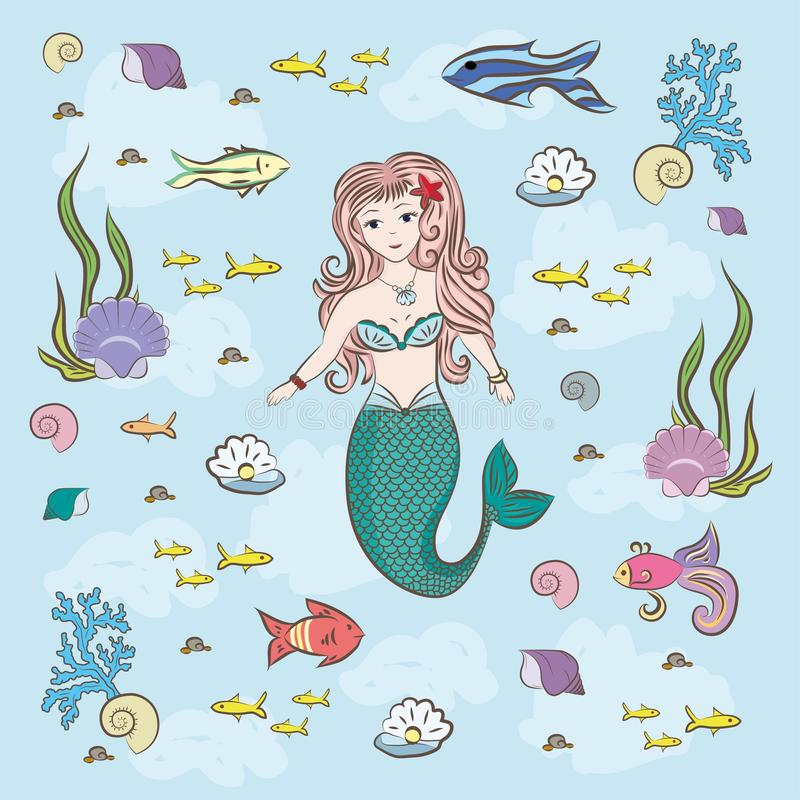 Mermaid and fish fry, stones and seaweed. Conch shell with a pearl in color stock illustration