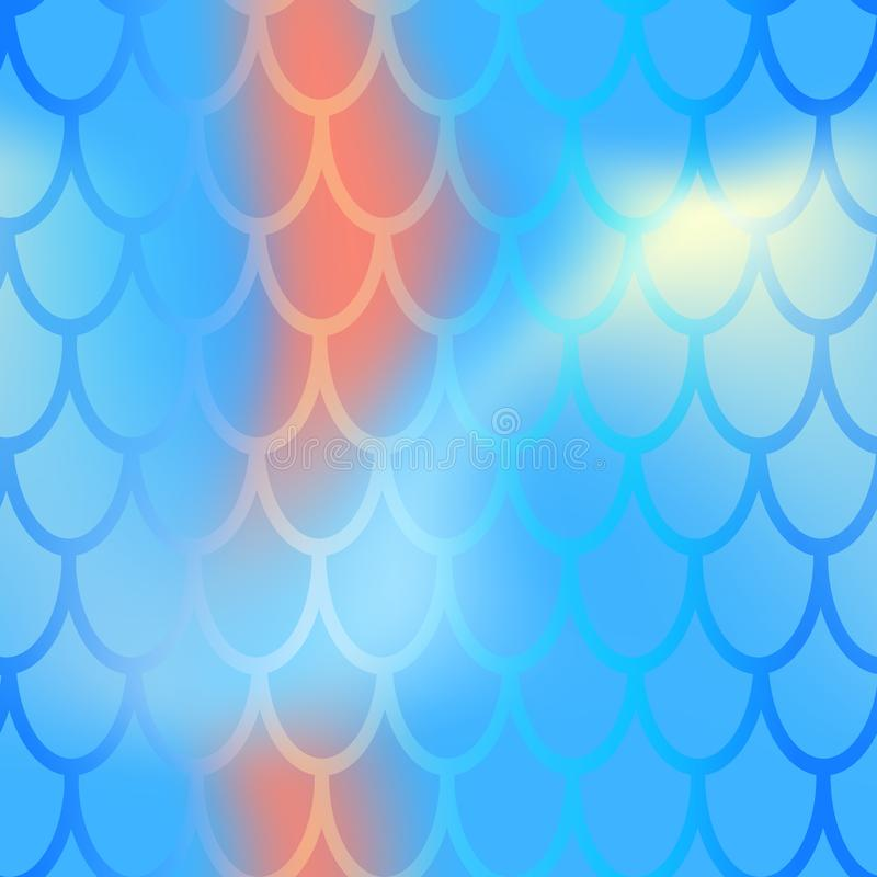 Mermaid or fish scale seamless pattern. Blue red mermaid skin background. Marine pattern tile. Holographic gradient royalty free stock image