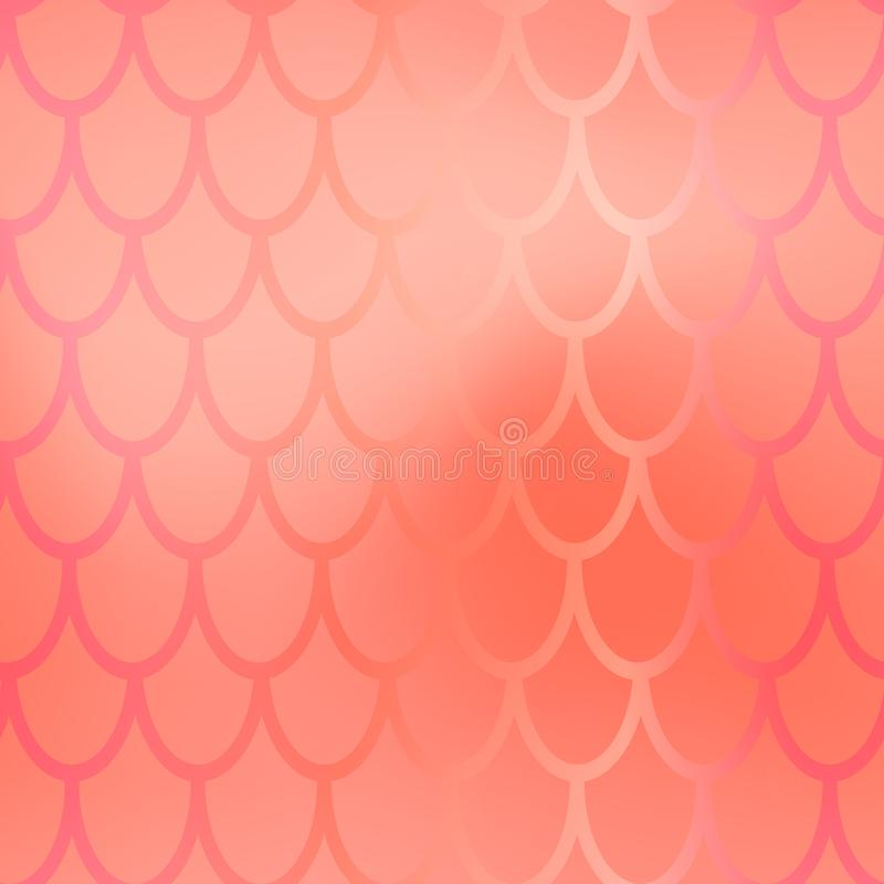 Mermaid or fish scale seamless pattern. Pink red mermaid skin background. Marine pattern tile. Holographic gradient royalty free stock photo