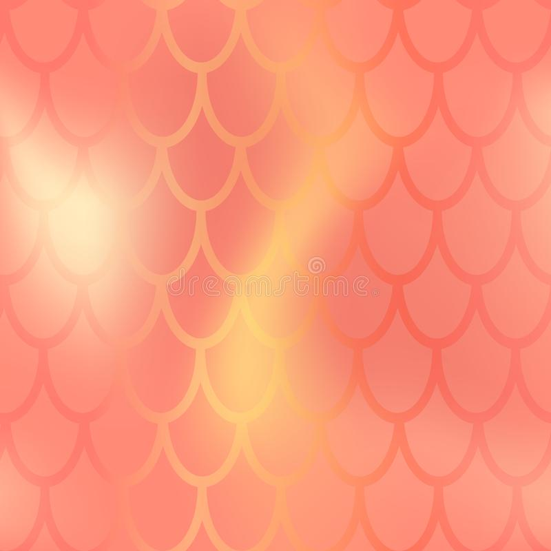 Mermaid or fish scale seamless pattern. Red yellow mermaid skin background. Marine pattern tile. Holographic gradient vector illustration