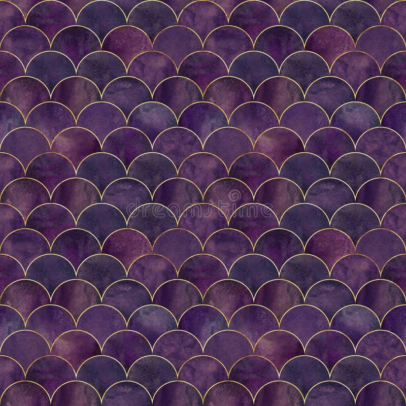 Mermaid fish scale wave japanese seamless pattern vector illustration