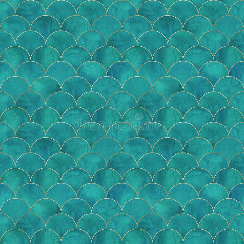 Mermaid fish scale wave japanese seamless pattern. Mermaid fish scale wave japanese luxury seamless pattern. Watercolor hand drawn dark teal turquoise background stock photos