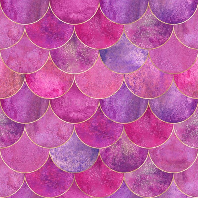 Mermaid fish scale wave japanese seamless pattern. Mermaid fish scale wave japanese luxury colorful seamless pattern. Watercolor hand drawn pink purple stock photo