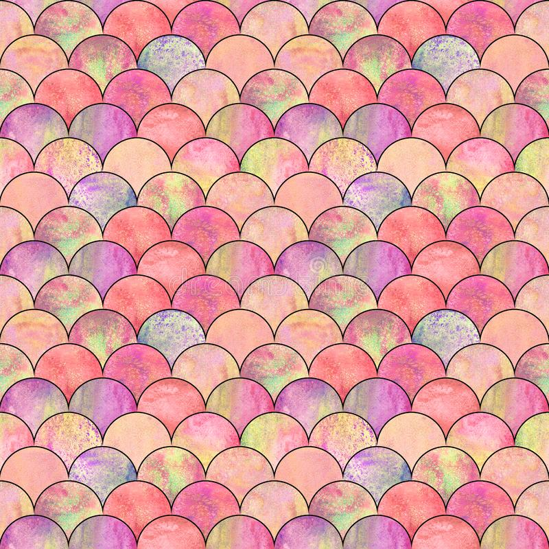 Mermaid fish scale wave japanese seamless pattern stock photography