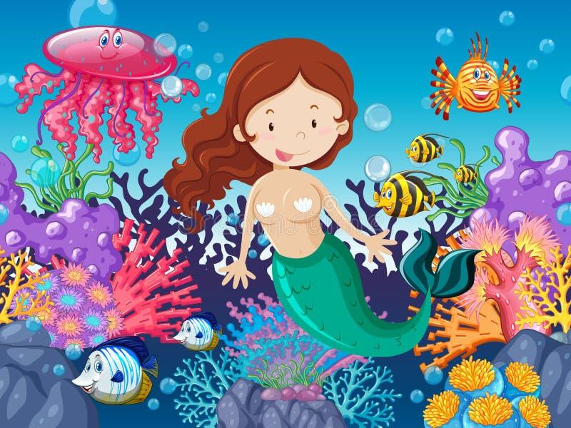 Mermaid and fish swimming under the sea. Illustration royalty free illustration