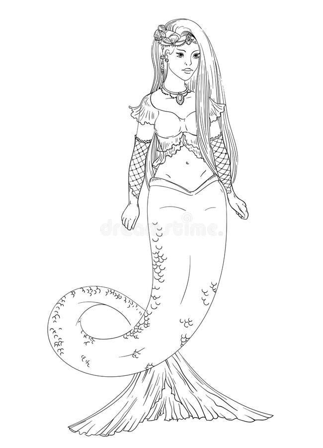 mermaid Geïsoleerdj op witte achtergrond stock illustratie