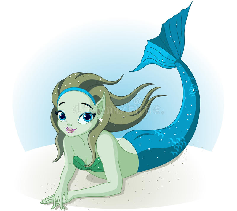 Mermaid Girl under the sea stock illustration