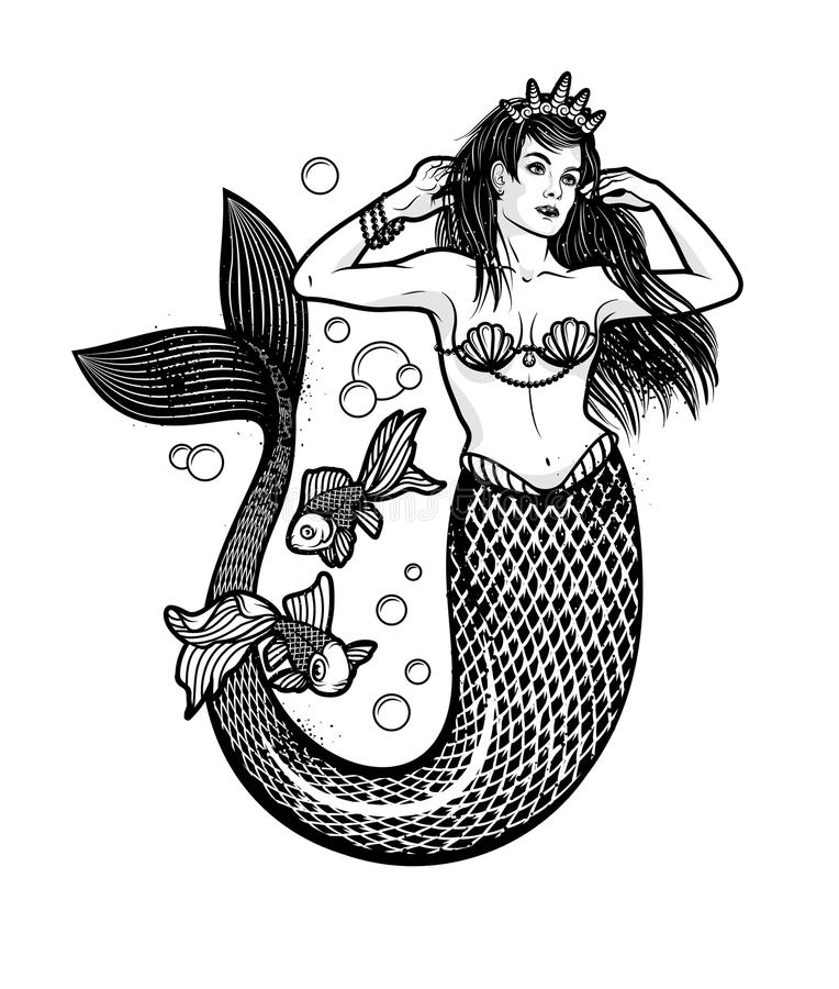 Free Mermaid Girl With Crown. Isolated Vector Illustration. Stock Photo - 110319470