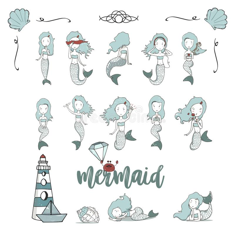 Mermaid girls vector illustration. Cute cartoon card with little mermaid. Under the sea. Pearl in the shell and starfish pastel royalty free illustration