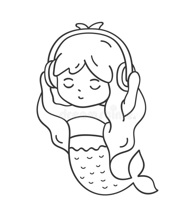 Mermaid in headphones listening to music. Cute cartoon character for emoji, sticker, pin, patch, badge. royalty free stock images