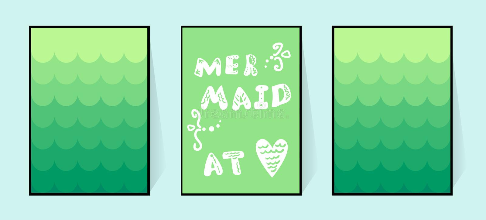 Mermaid in the heart. Gradient poster in green shades with the inscription. Vector cute letters. Illustration of fish vector illustration