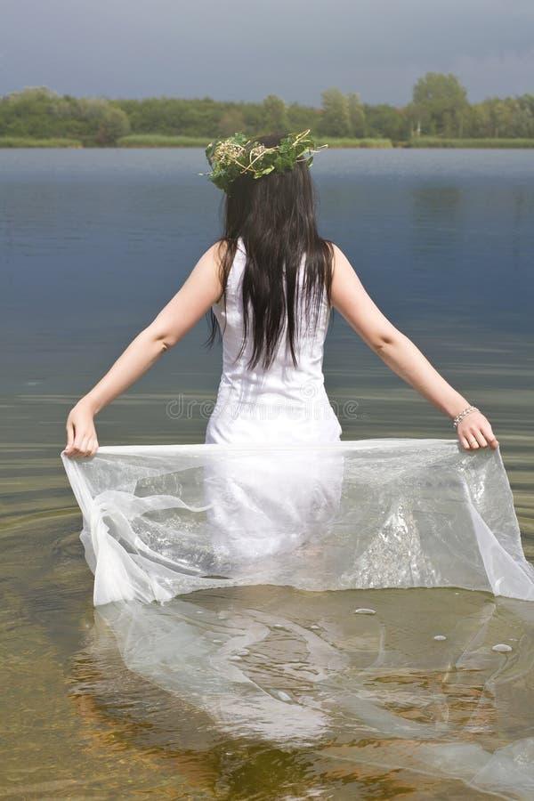 Mermaid i vattnet royaltyfria bilder