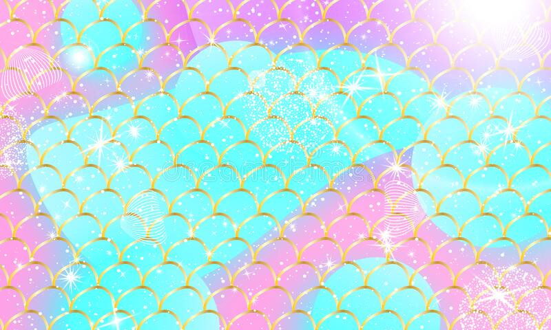 Mermaid kawaii pattern. Fish scale. Vector royalty free illustration