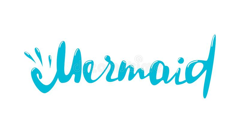 Mermaid lettering word on white background. Design element for poster, card, banner, emblem, sign. Vector illustration royalty free stock images