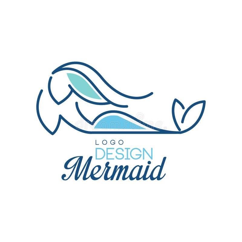 Mermaid logo design, silhouette of mermaid for badge, invitation card, banner vector Illustration on a white background royalty free illustration