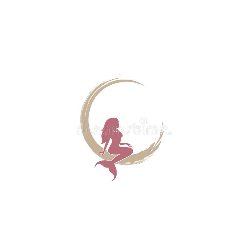 Mermaid logo icon design, vector illustration. mermaid vector silhouette illustration. Mermaid tail logo vector. royalty free illustration