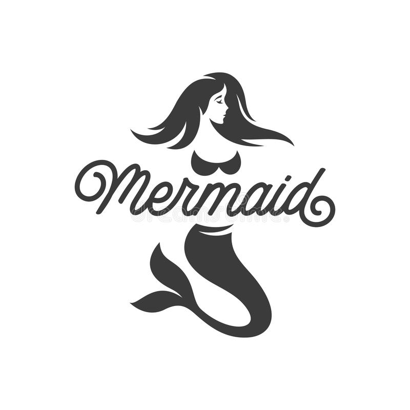 Mermaid logotype monochrome template. Vector vintage illustration. stock illustration