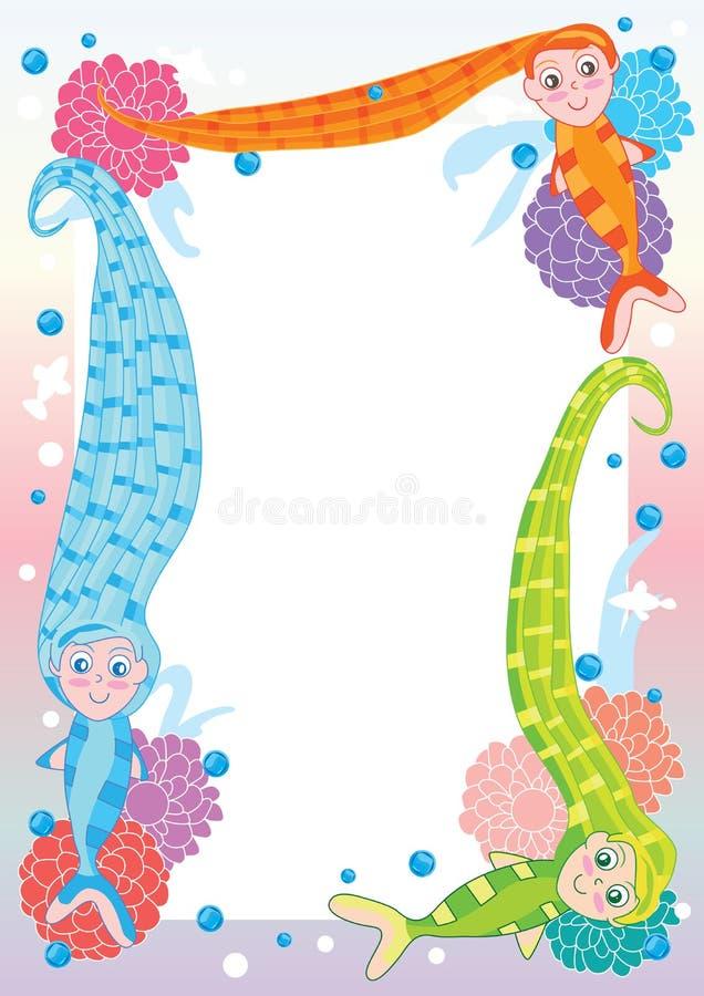 Mermaid Long Hair Frame_eps stock illustration