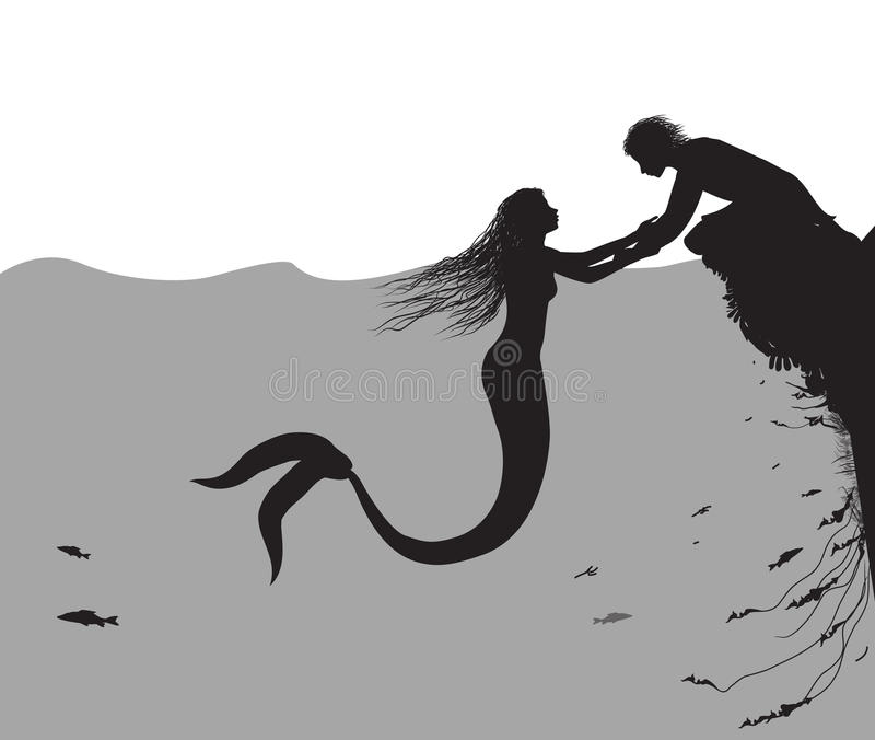 Mermaid and man. Lure the man, romantic moment, Andersen`s fairytale, in the sea, vector vector illustration