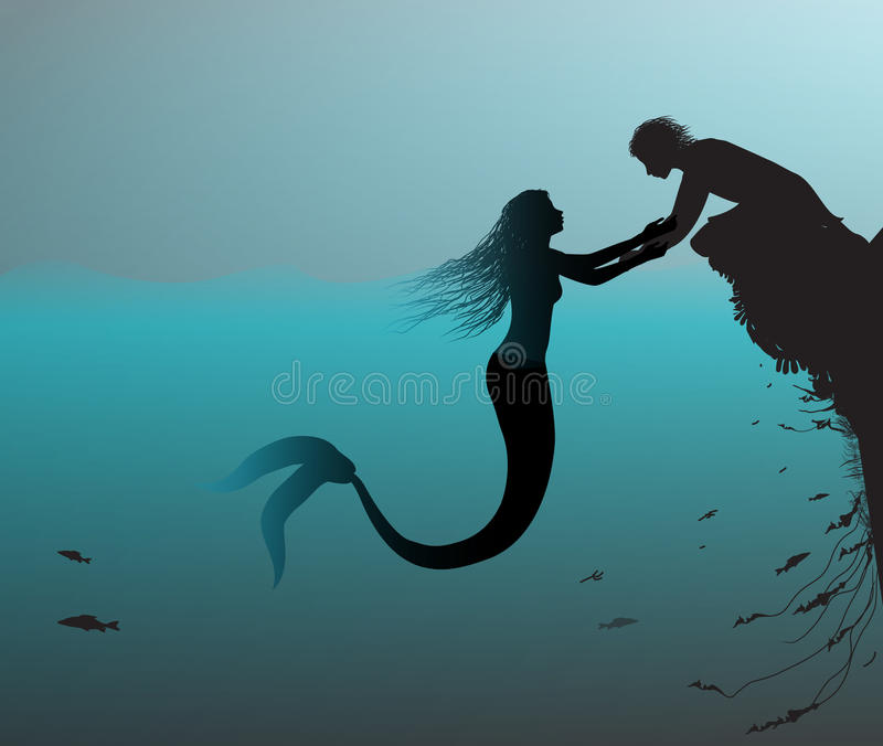 Mermaid and man. Mermaind and man, lure the man, romantic moment, Andersen`s fairytale, in the sea, vector vector illustration