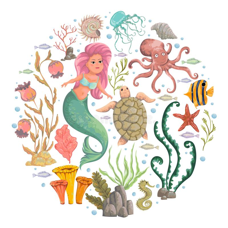 Mermaid, marine plants and animals. Collection decorative design elements. Cartoon sea flora and fauna in watercolor style. royalty free illustration