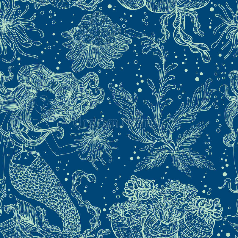 Mermaid, marine plants, corals and seaweed. Vintage seamless pattern with hand drawn marine flora. Vector illustration in line art style.Design for summer vector illustration