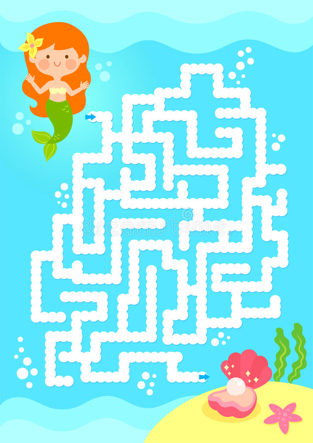 Mermaid maze game vector illustration