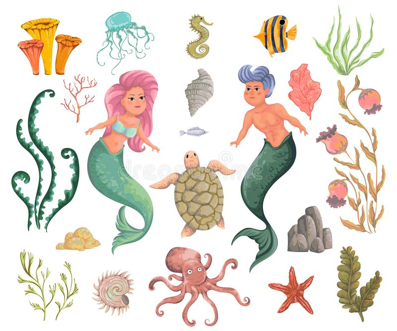 Mermaid, merman, marine plants and animals. Collection decorative design elements. Cartoon sea flora and fauna in watercolor style vector illustration