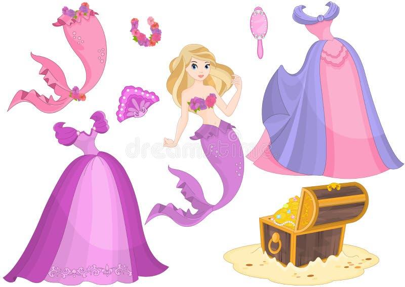 Mermaid Paper Doll stock illustration