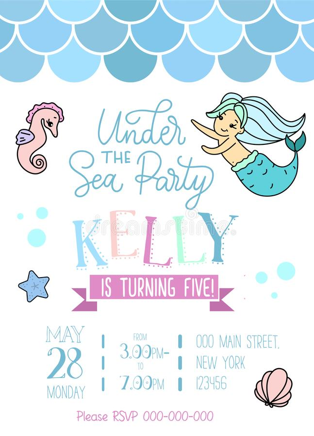 Mermaid party invitation for little girl mermaid. Greeting card vector illustration