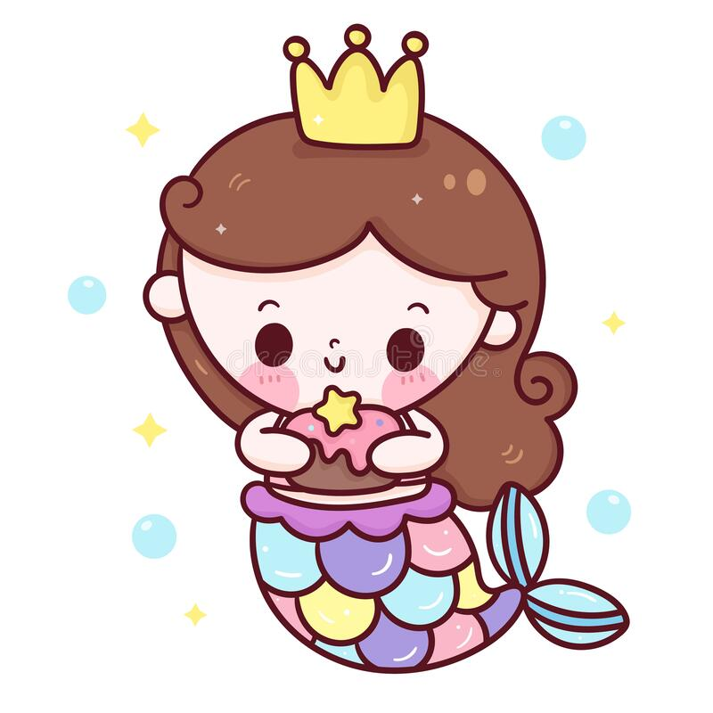 Free Mermaid Princess Cartoon Holding Birthday Cake Kawaii Animal Stock Photography - 216297612