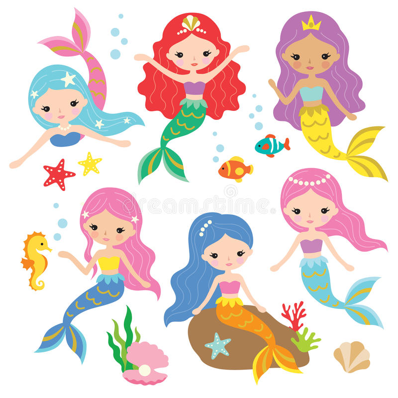 Mermaid Princess Vector Set. Vector illustration of cute mermaid princess with colorful hair and other under the sea elements