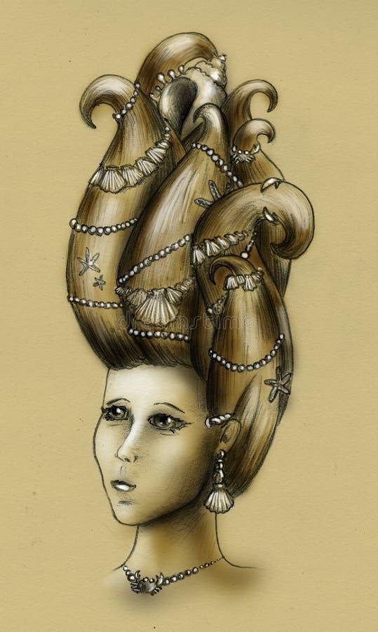 Download Mermaid queen - vintage stock illustration. Illustration of fashion - 11986143