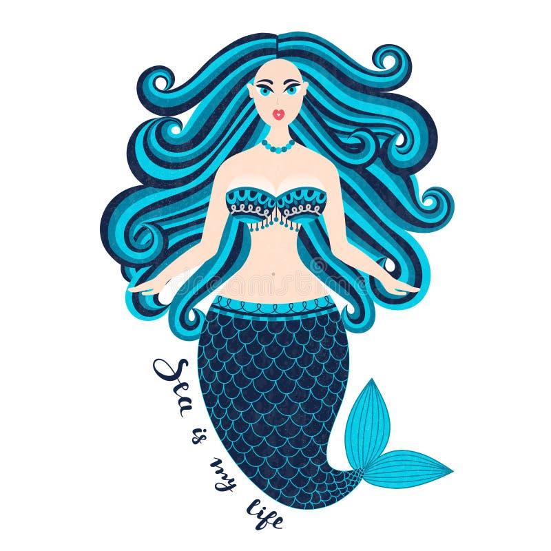 Mermaid Ragazza Disegnata A Mano Del Mare Bella Donna Con ...