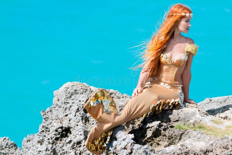 Mermaid on the rock stock image
