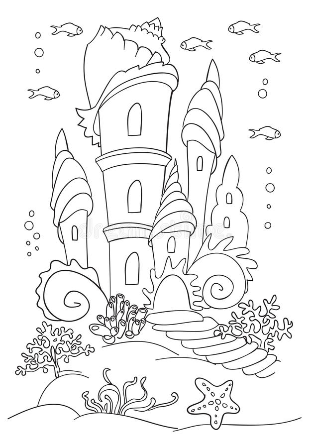 mermaid s castle at ocean bottom stock vector