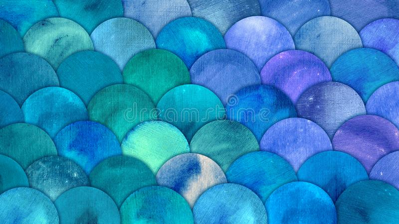 Mermaid Scales Watercolor Fish squame background. Bright summer blue sea pattern with reptilian scales abstract royalty free illustration
