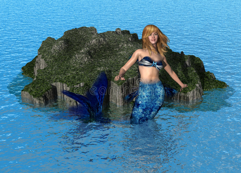 Mermaid at Sea stock illustration