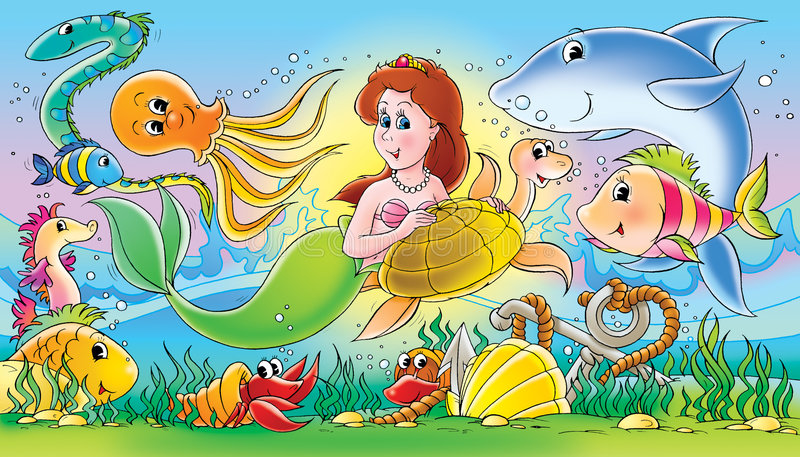 Download Mermaid and sea animals stock illustration. Illustration of children - 3011236