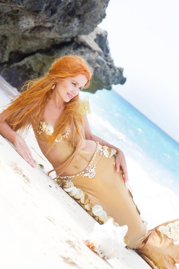 Mermaid on sea background stock photo