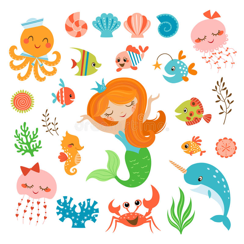 Mermaid and sea friends vector illustration