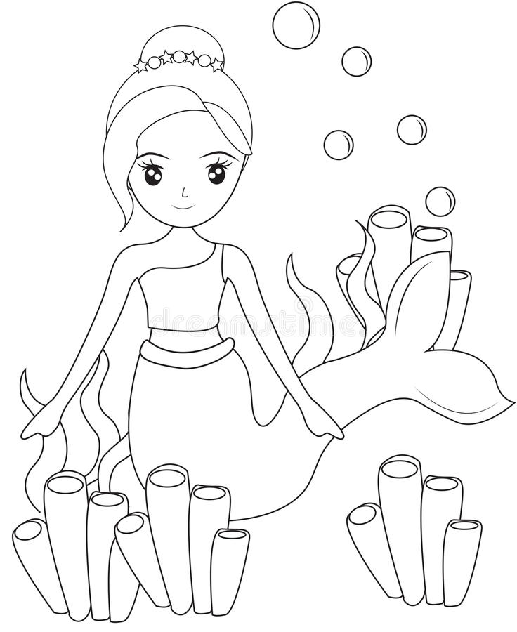 Mermaid With Sea Sponges Coloring Page Stock Illustration ...