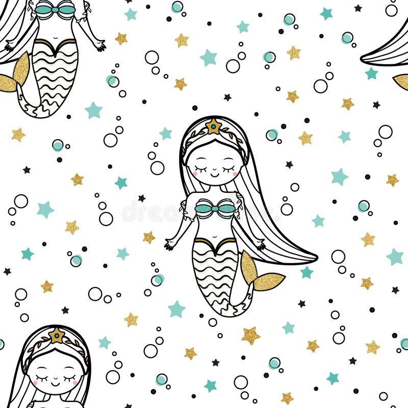 Mermaid seamless pattern. Cute mermaid princess background for textile, wallpaper and other design royalty free illustration