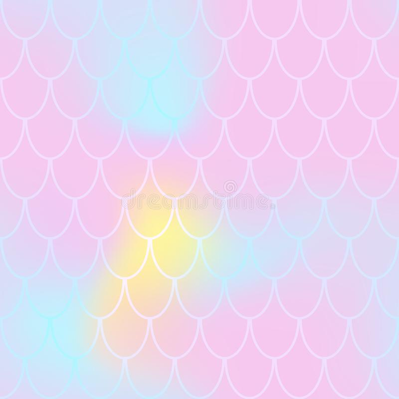 Mermaid seamless pattern on pastel background. Fish scale pattern tile. Rose pink abstract print for summer textile stock illustration