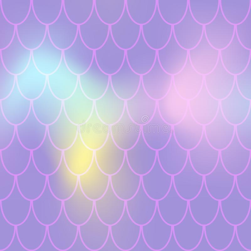 Mermaid seamless pattern on pastel background. Fish scale pattern tile. Violet pink abstract print for summer textile royalty free illustration