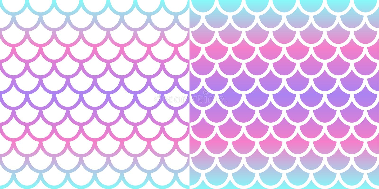 Mermaid seamless pattern set. Pink and blue holographic mermaid scale background. Fish scale pattern. Vector stock illustration