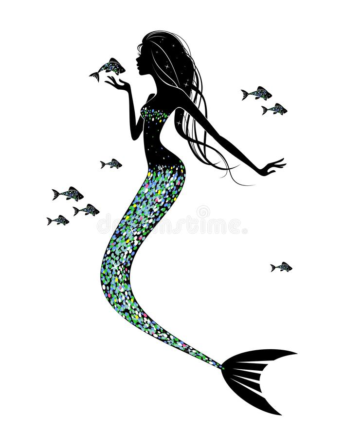 A mermaid silhouette vector illustration