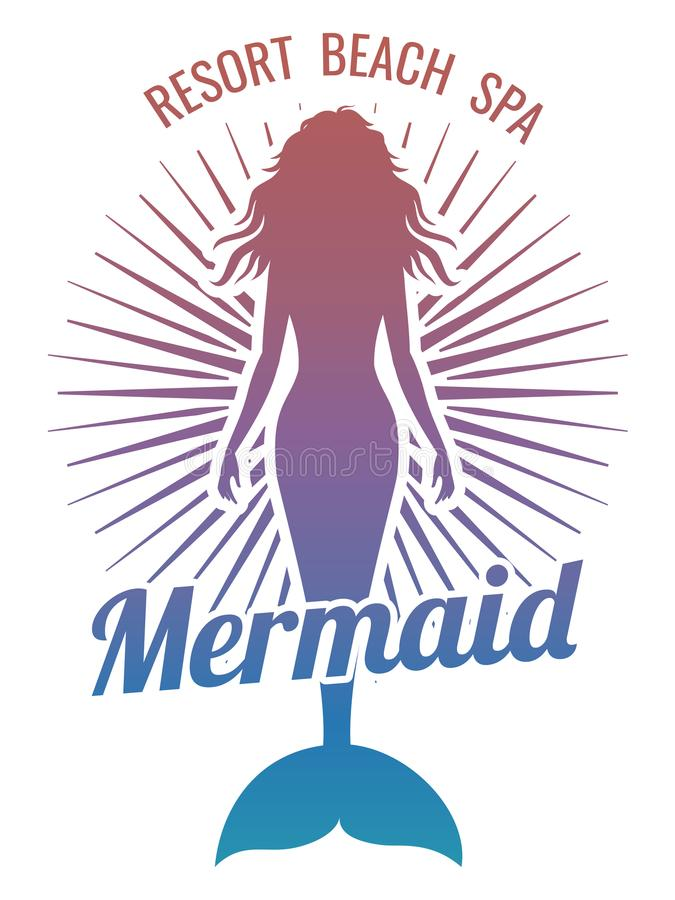 Mermaid silhouette stylized vector logo vector illustration